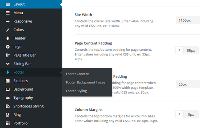Painel do WordPress Theme Options Avada