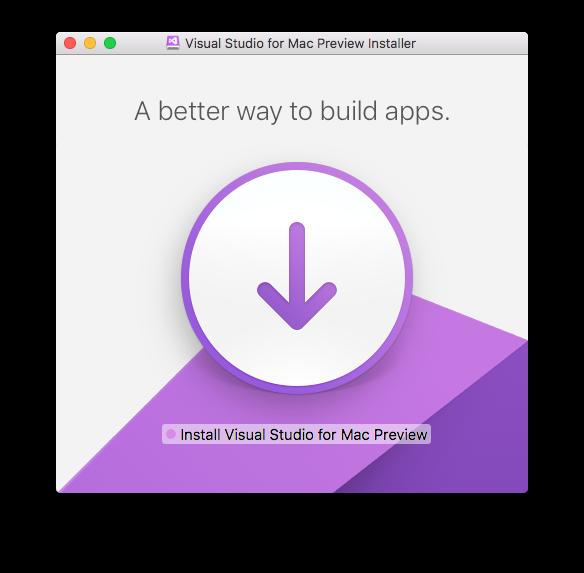 Tela de instalaçção visual studio para Mac