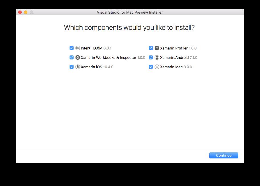 Tela para a escolha de componentes do Visual Studio