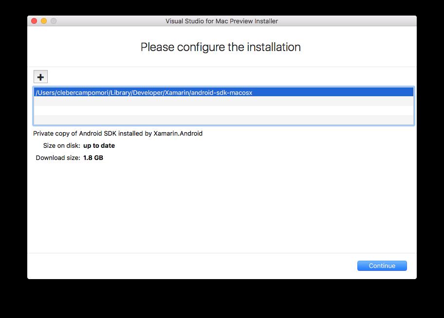 Configuralções de instalação como local