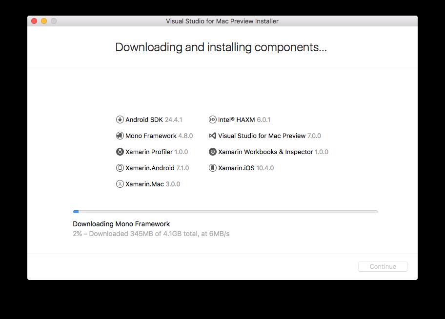 Tela de download e de instalação dos componentes