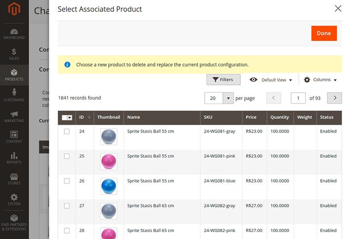 Painel de adição de produtos associados a produto configurável