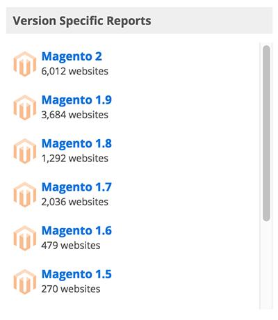 estatísticas de uso Magento site buildwith