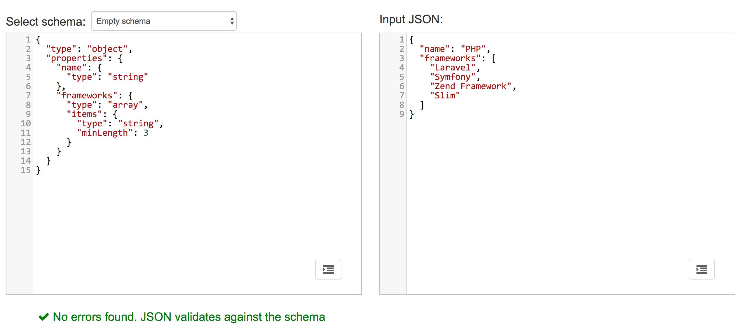 Validating json request string