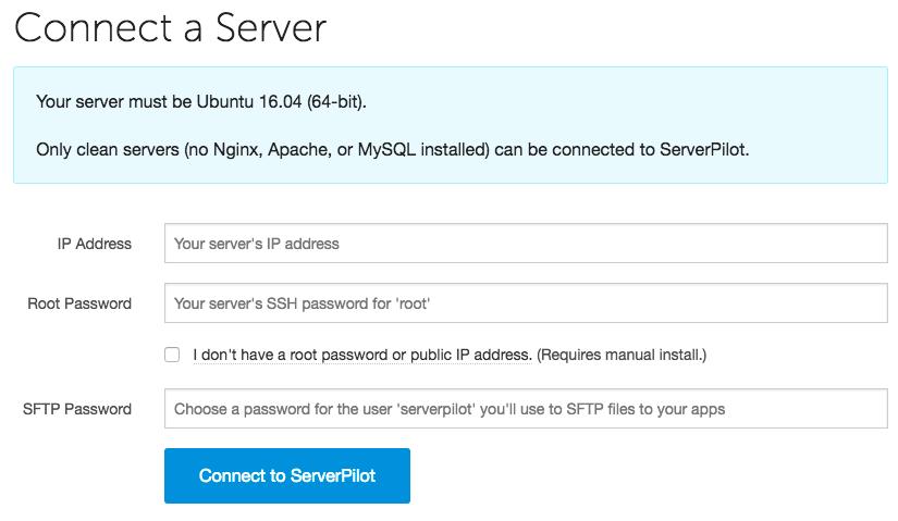 conexão do ServerPilot com servidor