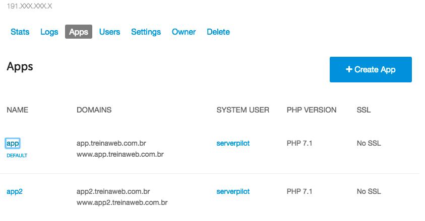 lista aplicações web ServerPilot