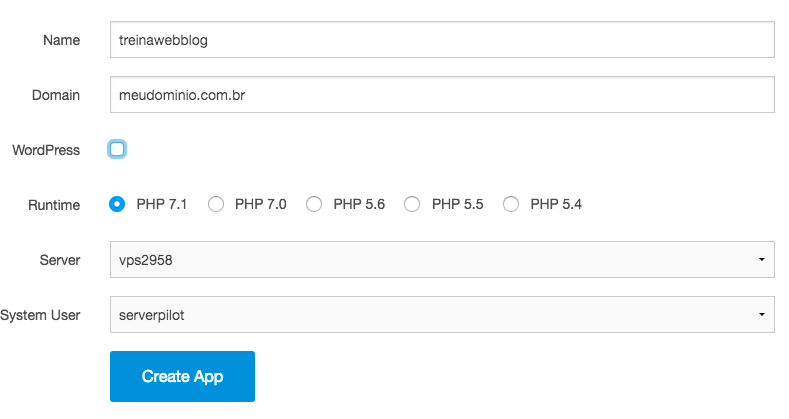 criação nova aplicação PHP