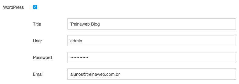 Imagem instalação automática do WordPress