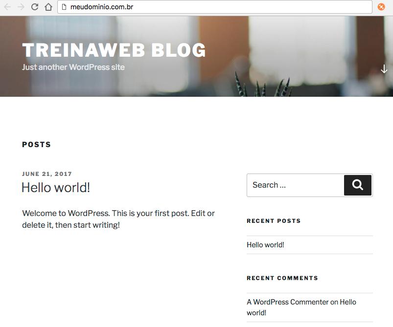 Imagem WordPress instalado automaticamente