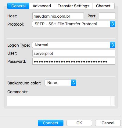 Imagem conexão FTP filezilla ao ServerPilot