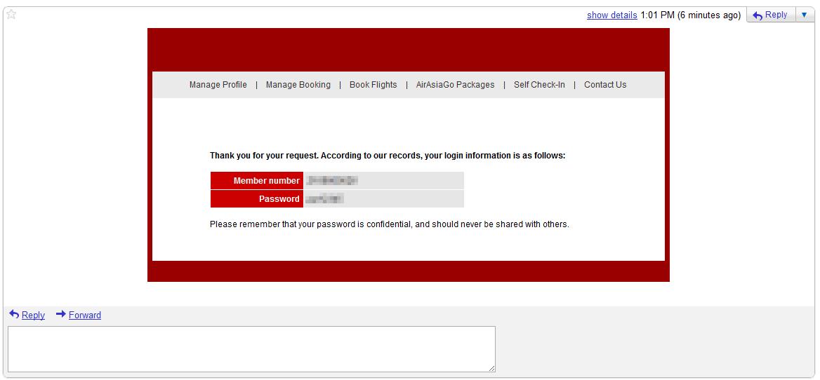 Email com senha exposta