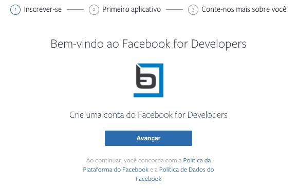 página de desenvolvedor do facebook