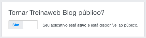 configuração para tornar o aplicativo público